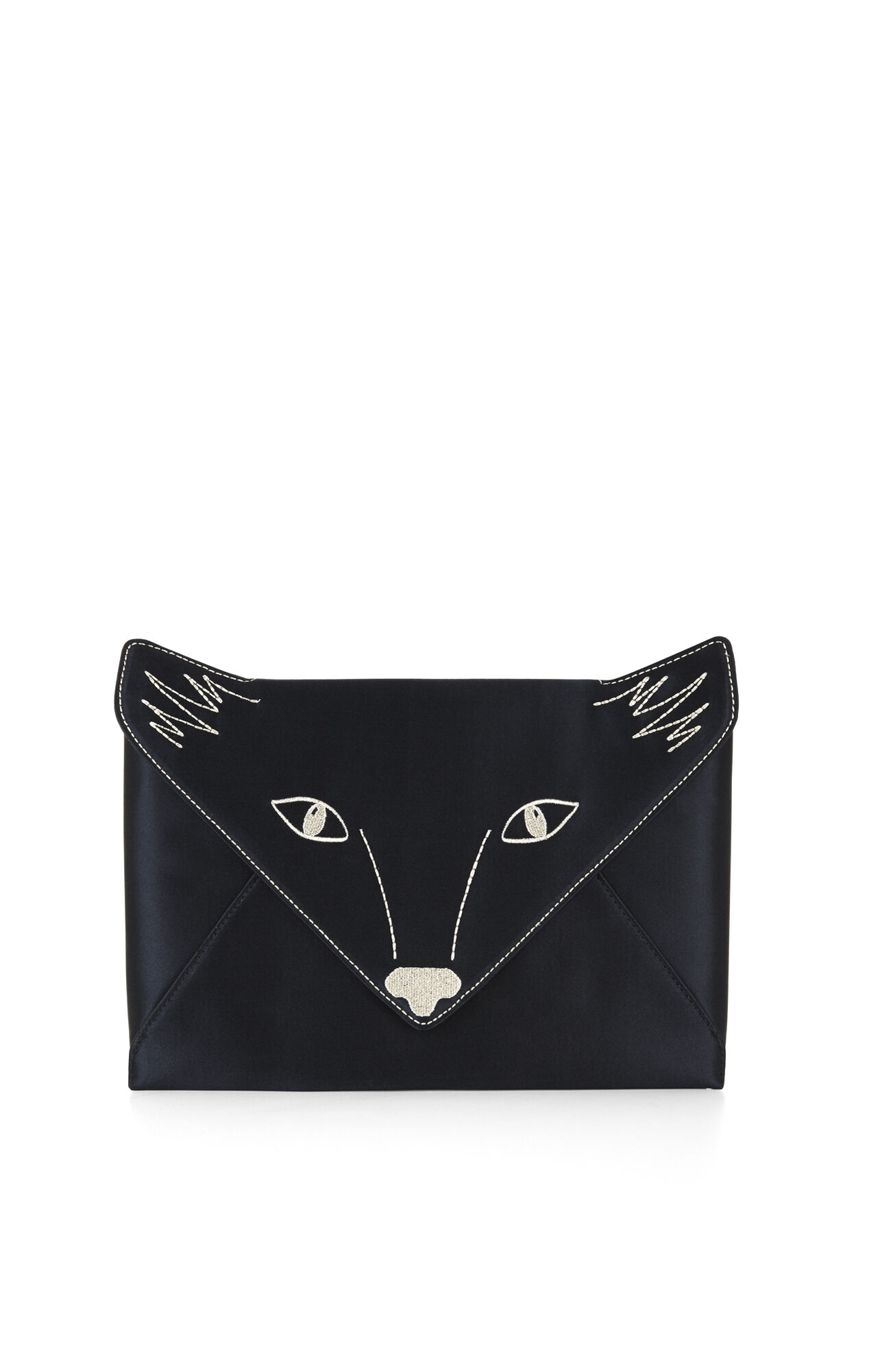 Foxy Embroidered Satin Envelope Clutch