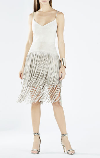 Evin Faux-Suede Tiered Fringe Dress