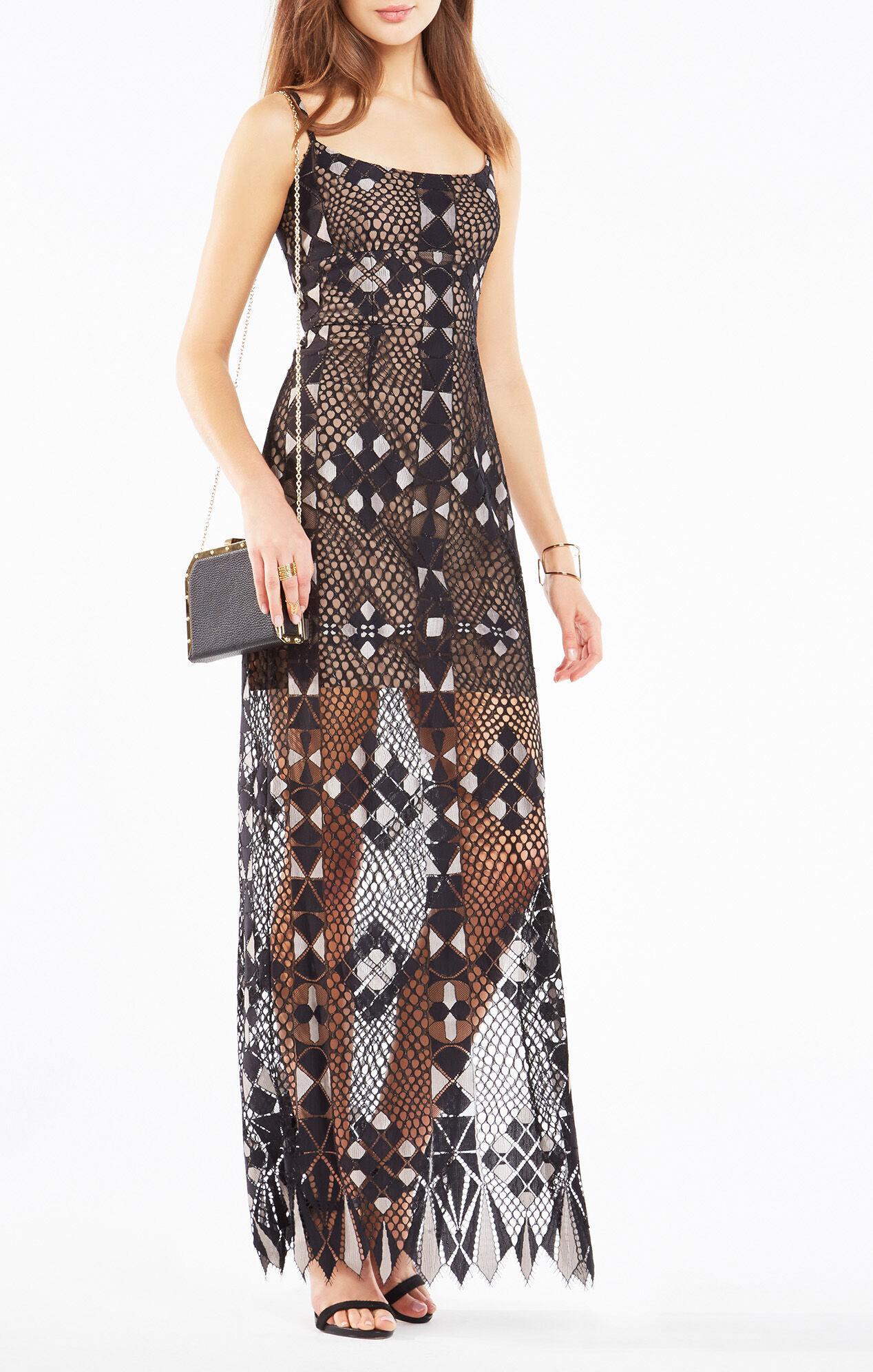 Evelina Geometric Lace Maxi Dress