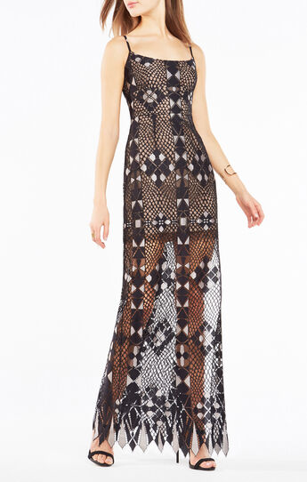 Evelina Geometric Lace Maxi Dress