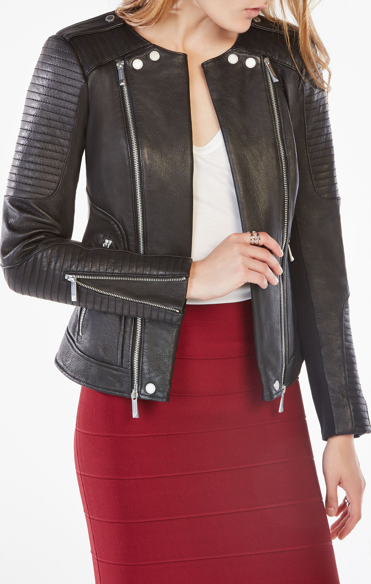 Blake Zip-Front Quilted Leather Jacket