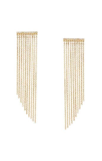 Pave Stone Chain Fringe Earrings