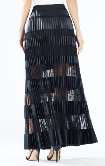 Krissy Faux-Leather Striped Maxi Skirt