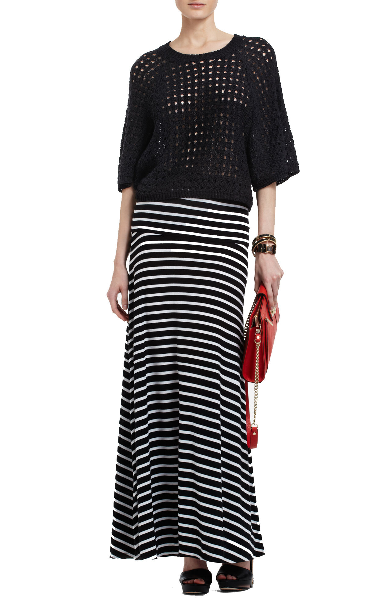 Karolin Wide-Banded Striped Rib Skirt