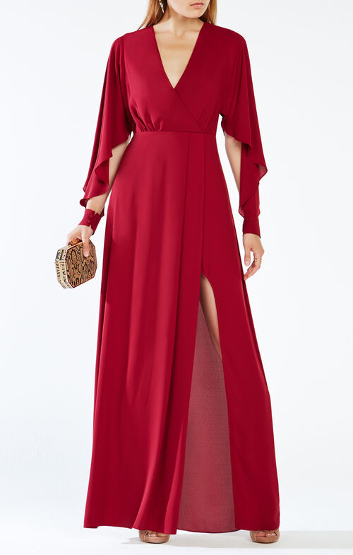 Doran Draped-Sleeve Gown