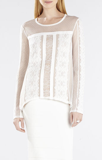Addyson Lace-Blocked Long-Sleeve Shirt
