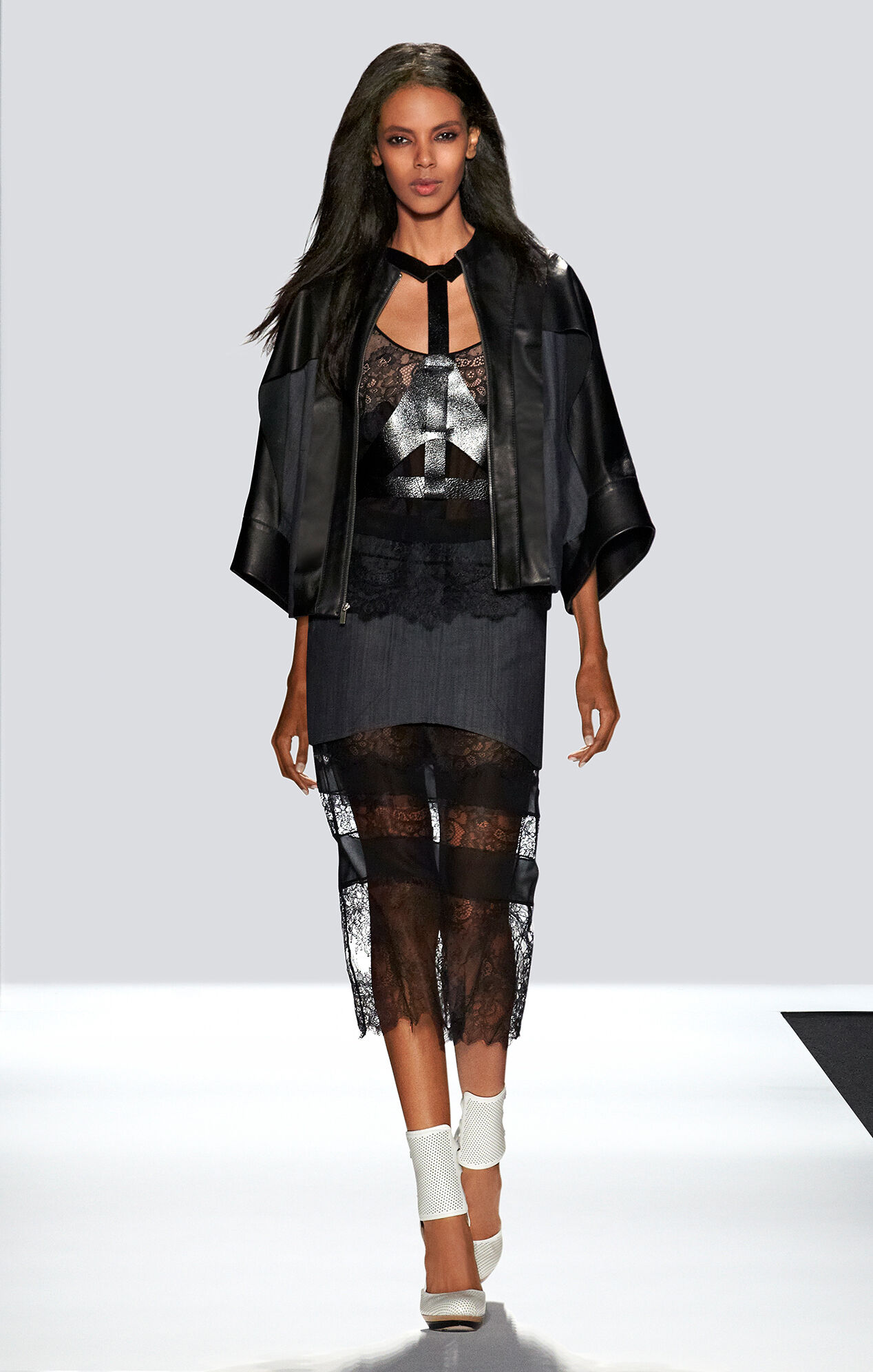Runway Thalia Lace and Denim Skirt With Pockets