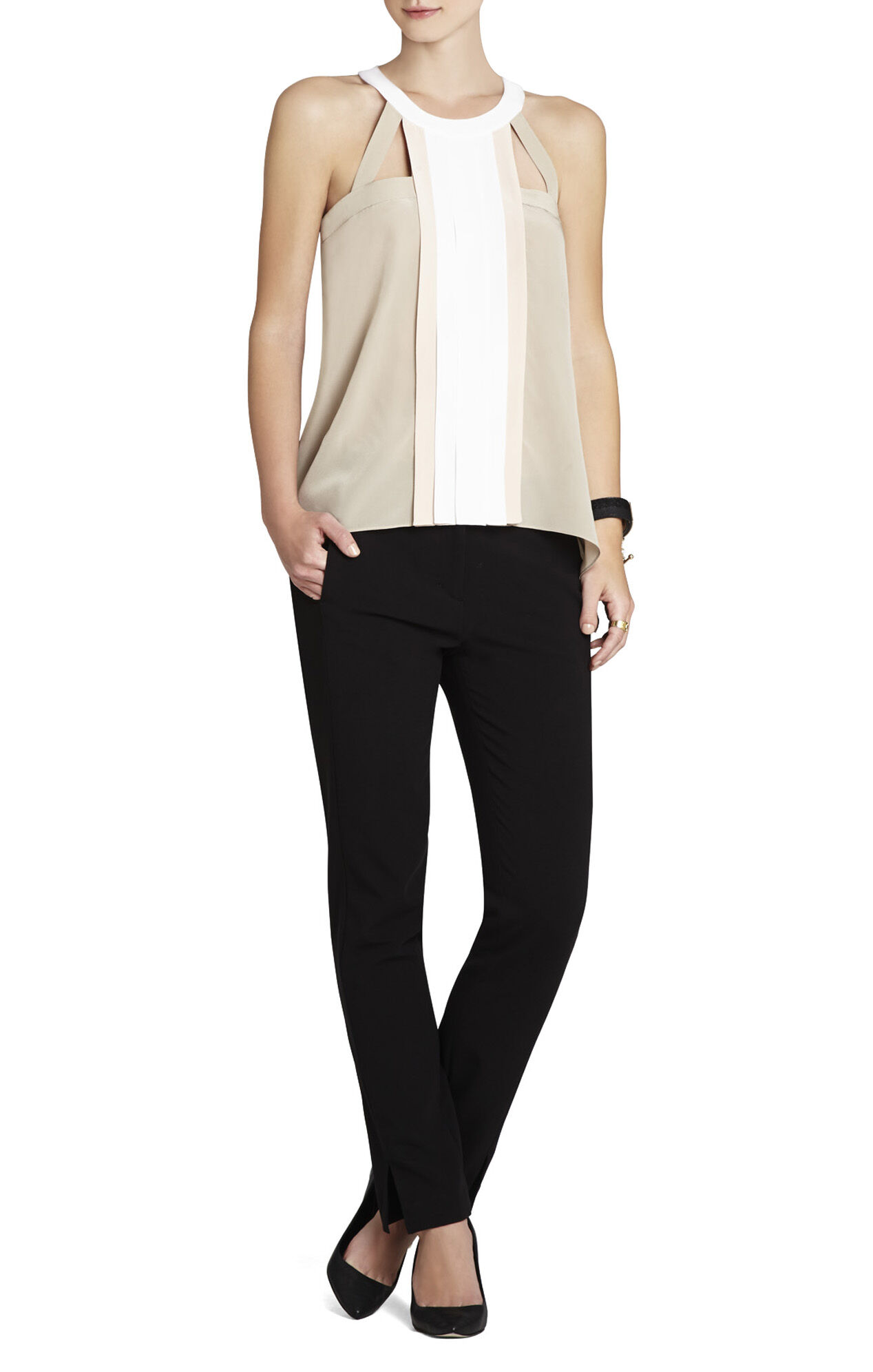 Kayli Silk Color-Blocked Cutout Top