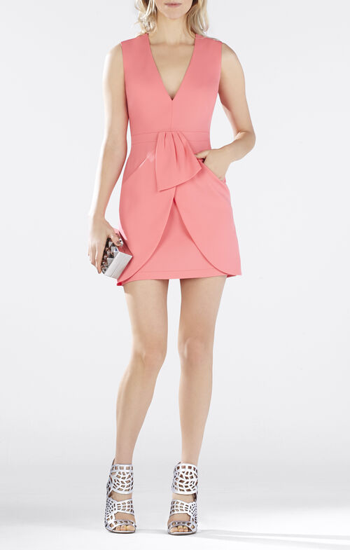 Clare Sleeveless Draped-Skirt Dress