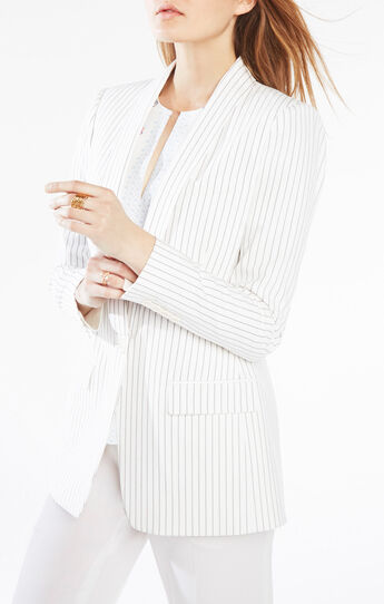 Claudio Pinstriped Boyfriend Blazer