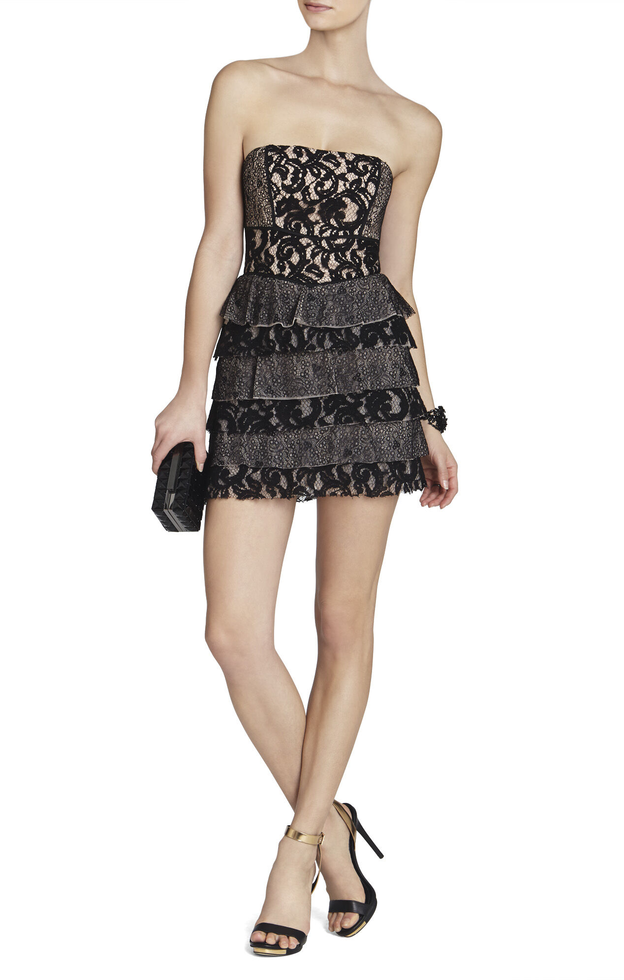 Ellie Mixed-Lace Strapless Dress