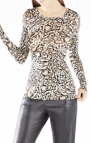 Adga Long-Sleeve Ocelot Print Top