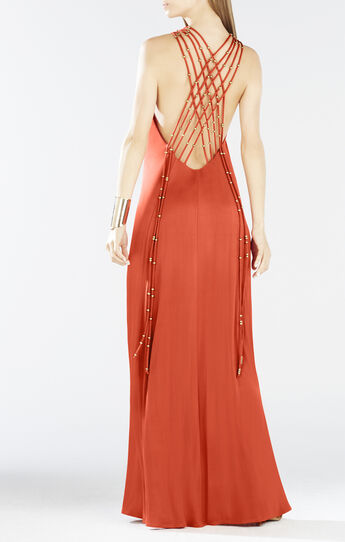 Aviana Crisscross Back Beaded Maxi Dress