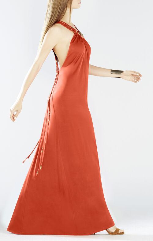 Aviana Crisscross Back Beaded Maxi Dress