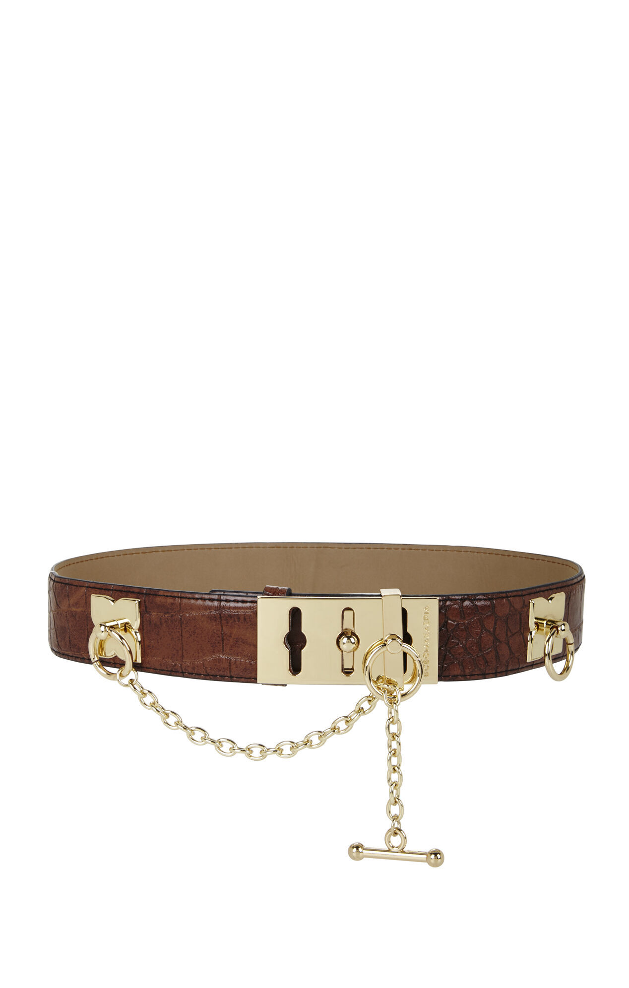 Croco-Embossed Toggle Waist Belt