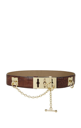 Croco-Embossed Toggle Waist Belt