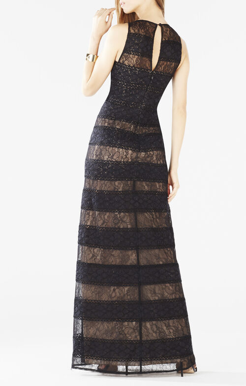 Kiley Striped Lace Gown