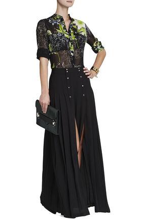 Loora Printed Long-Sleeve Silk Blouse