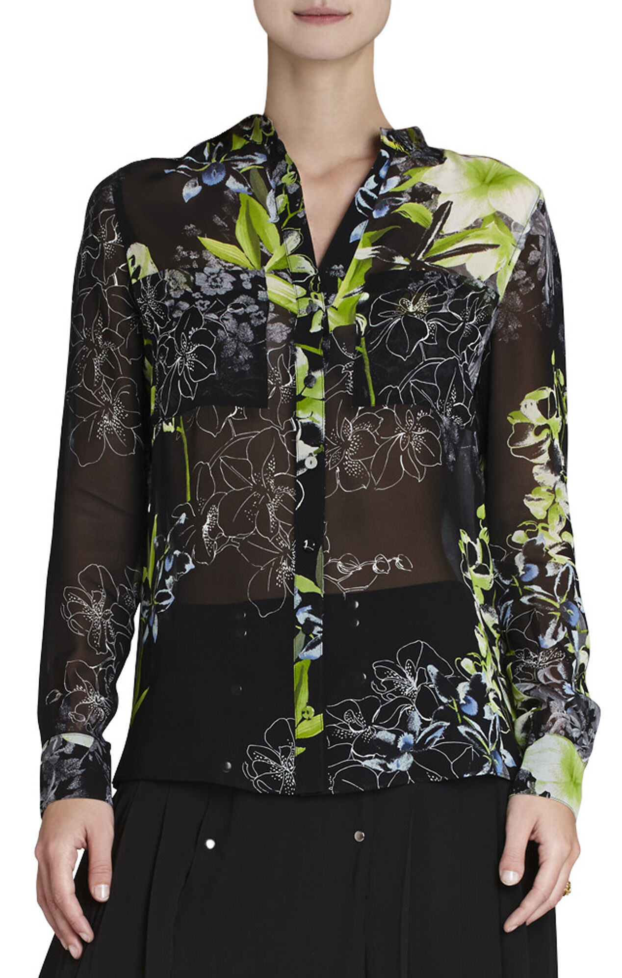 Loora Printed Long-Sleeve Silk Blouse