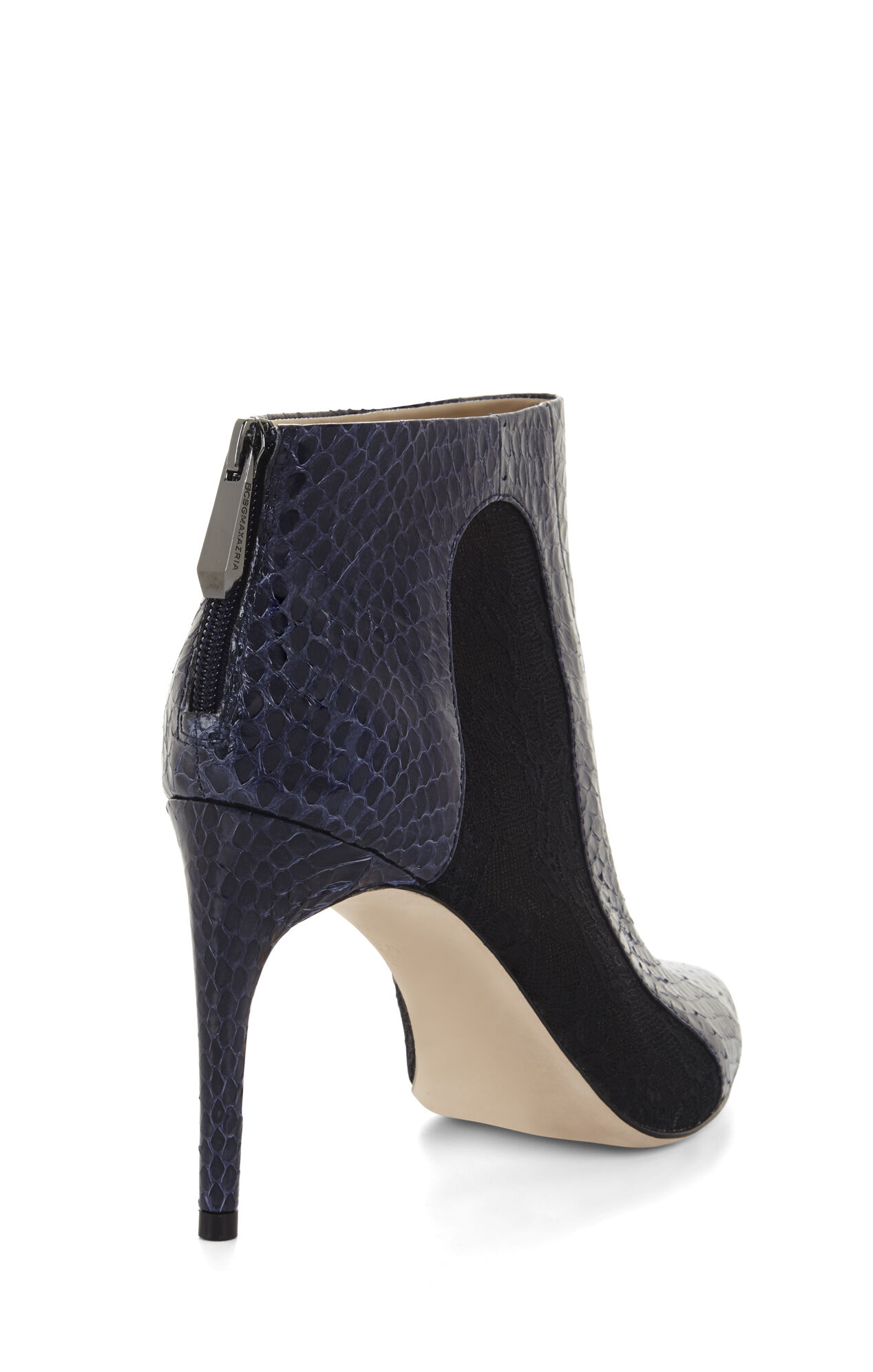 Cleo Snake-Embossed Lace Combo Day Bootie