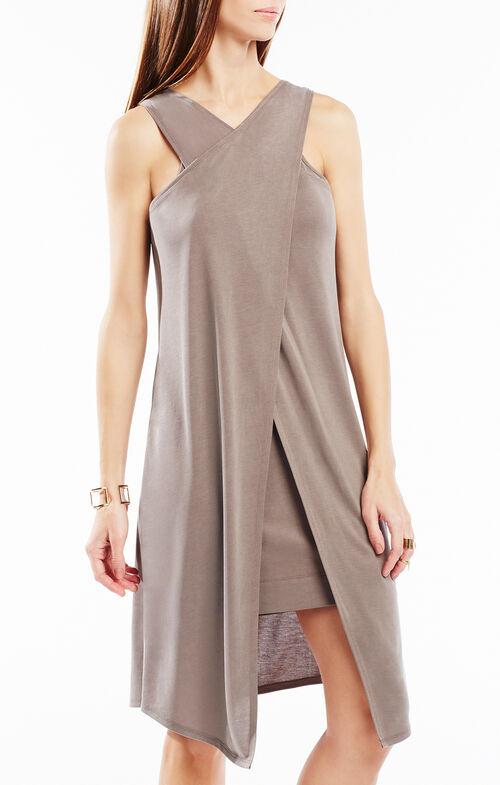 Louren Crossover Layered Jersey Dress