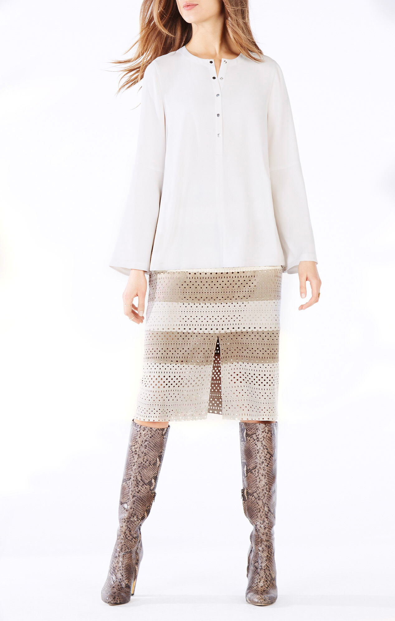 Vitta Color-Blocked Faux-Suede Midi Skirt
