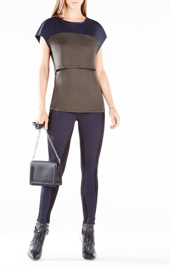Sydne Layered Faux-Leather Blocked Top
