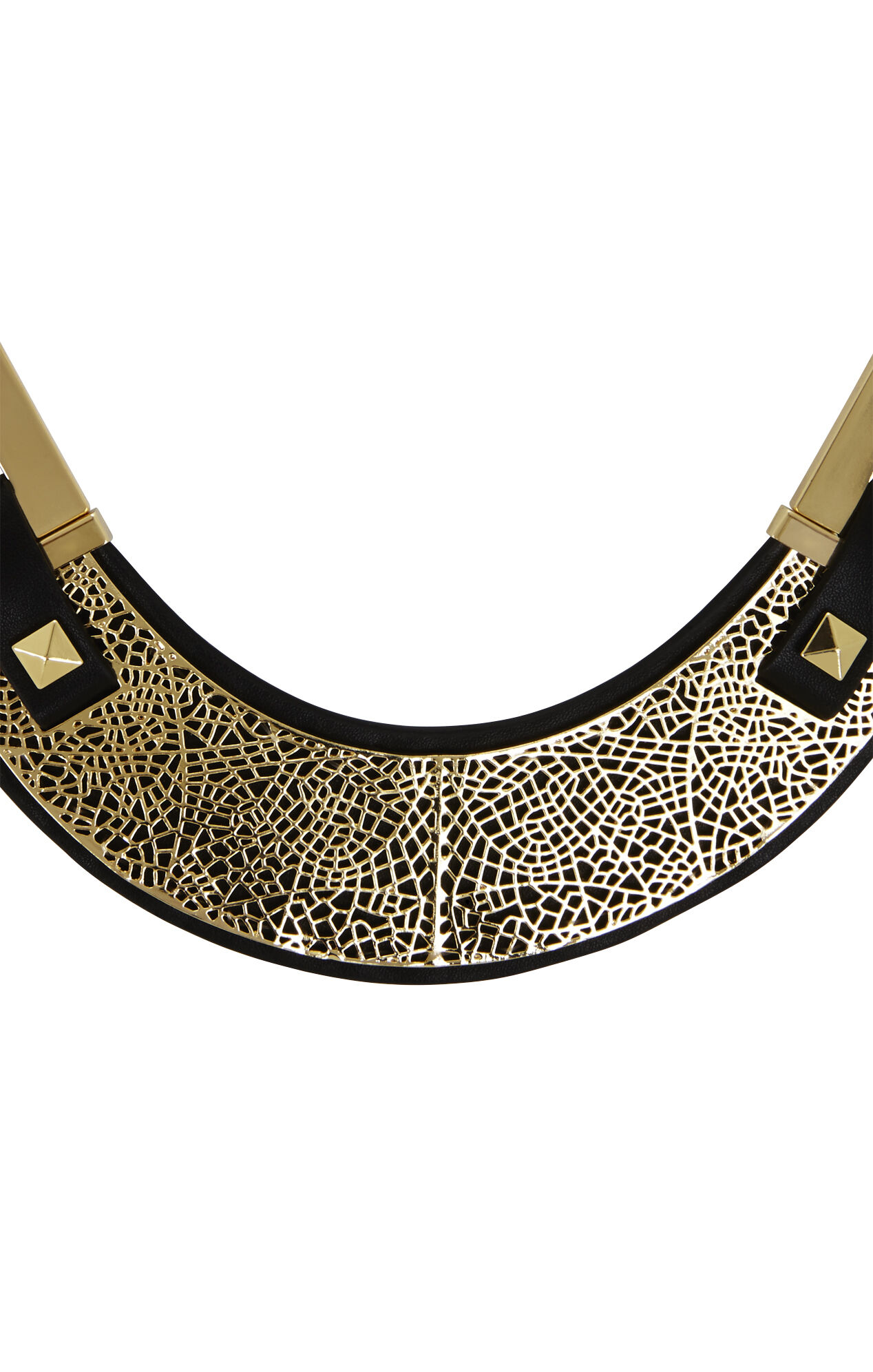 Faux-Leather Filigree-Plate Necklace