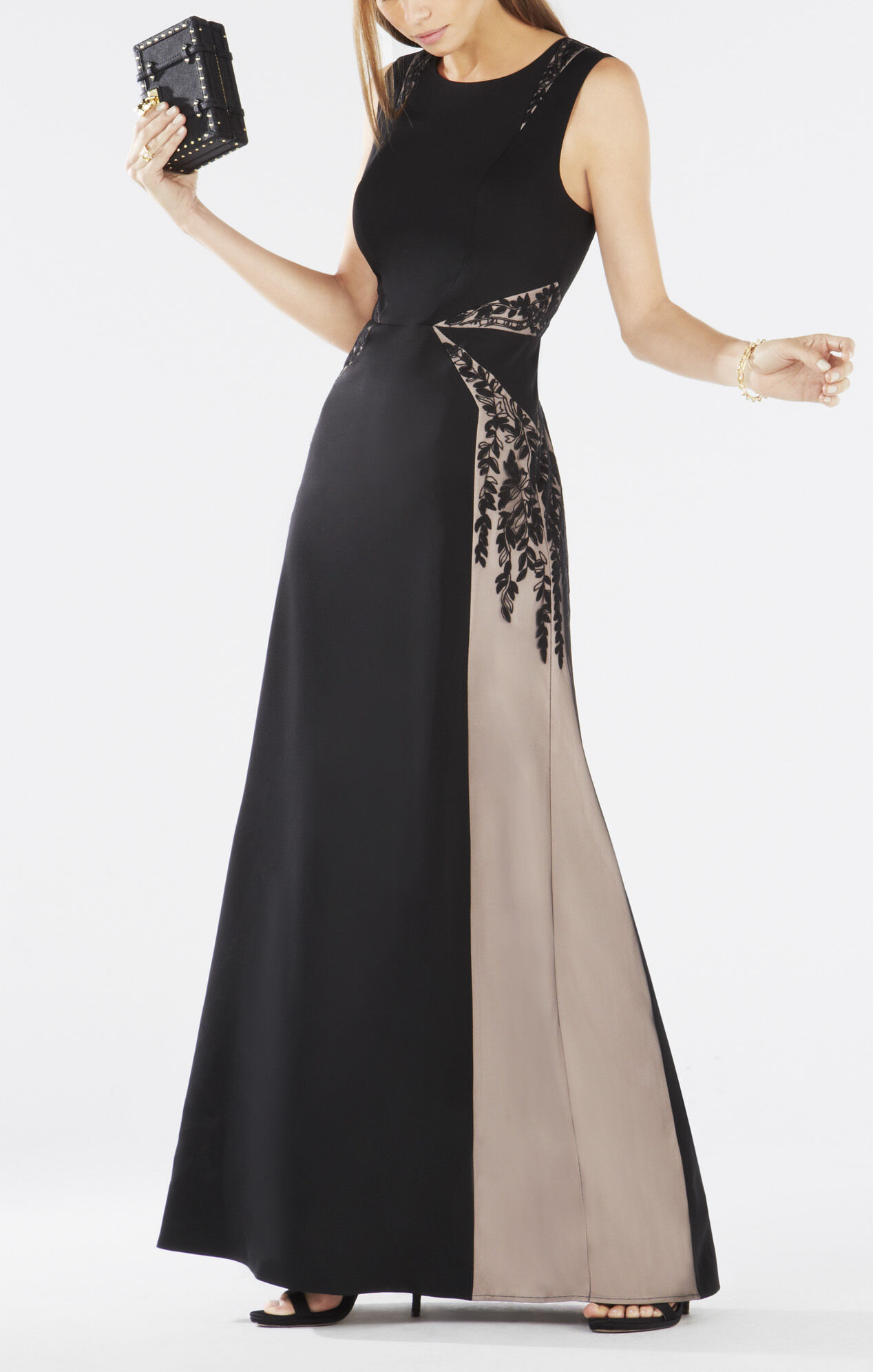 Malik Color-Blocked Open-Back Gown