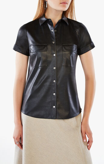 Bernadine Faux-Leather Shirt