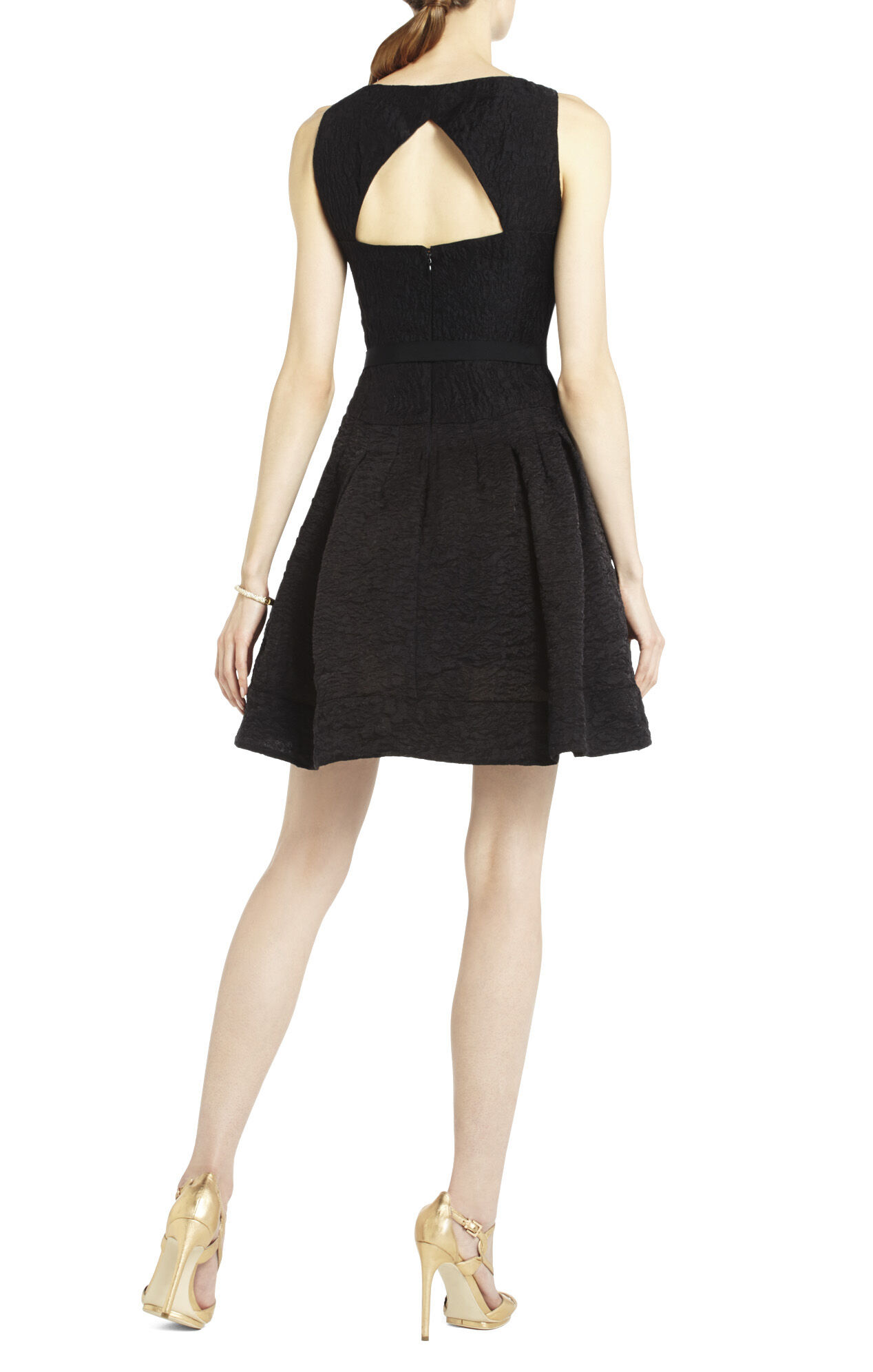 Delphine Pleated Open-Back Dress