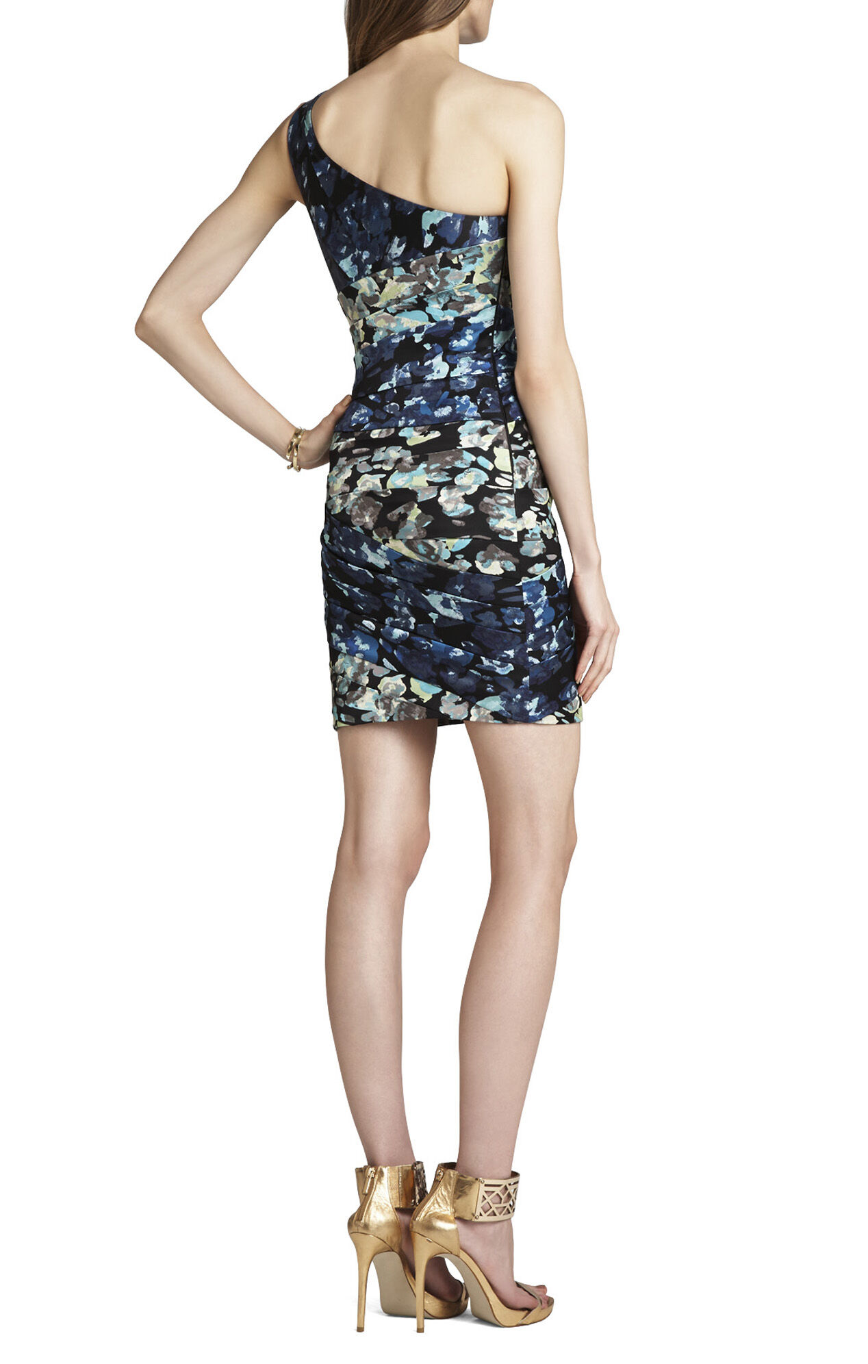Paige One-Shoulder Print-Blocked Dress