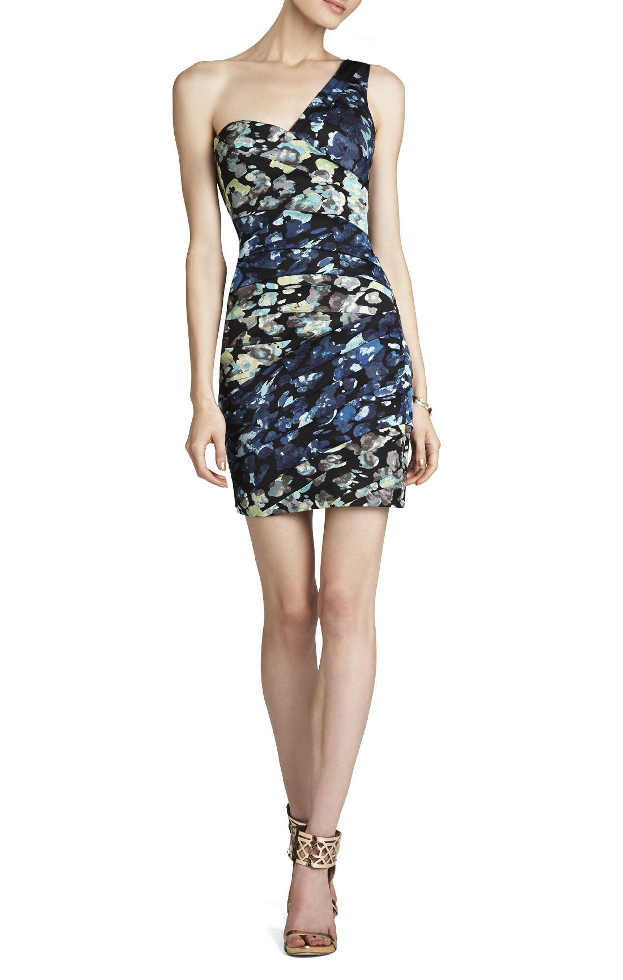 Paige One-Shoulder Print-Blocked Dress