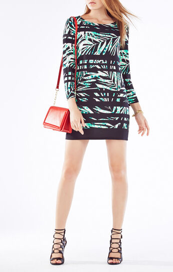 Noely Palms Print-Blocked Dress