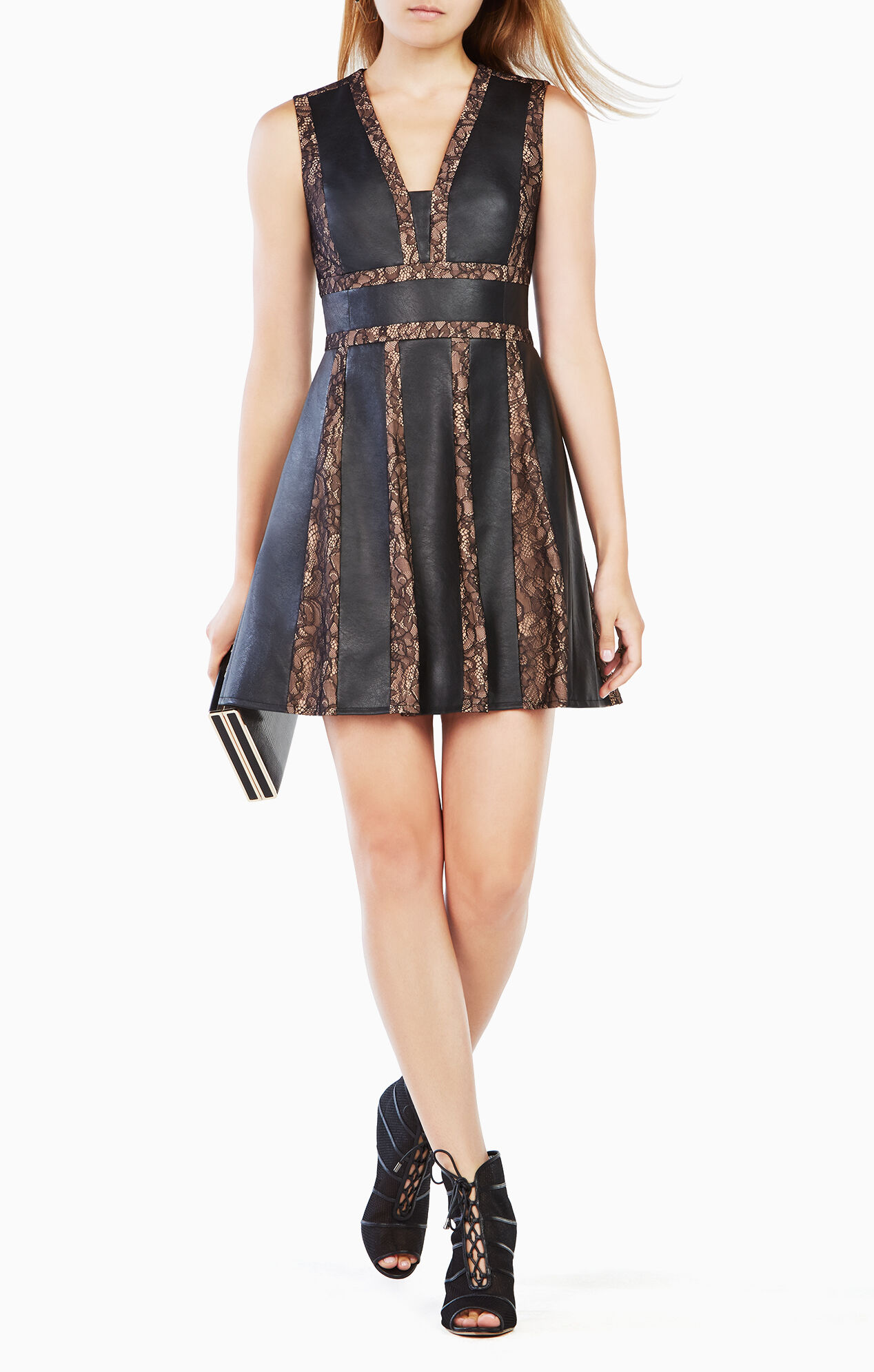 Val Faux Leather Blocked Dress