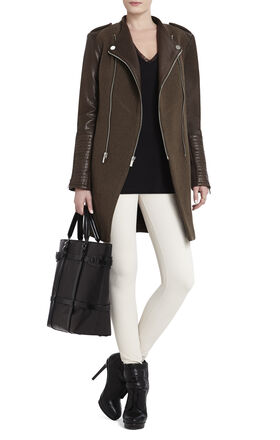 Julia Contrast-Sleeve Coat