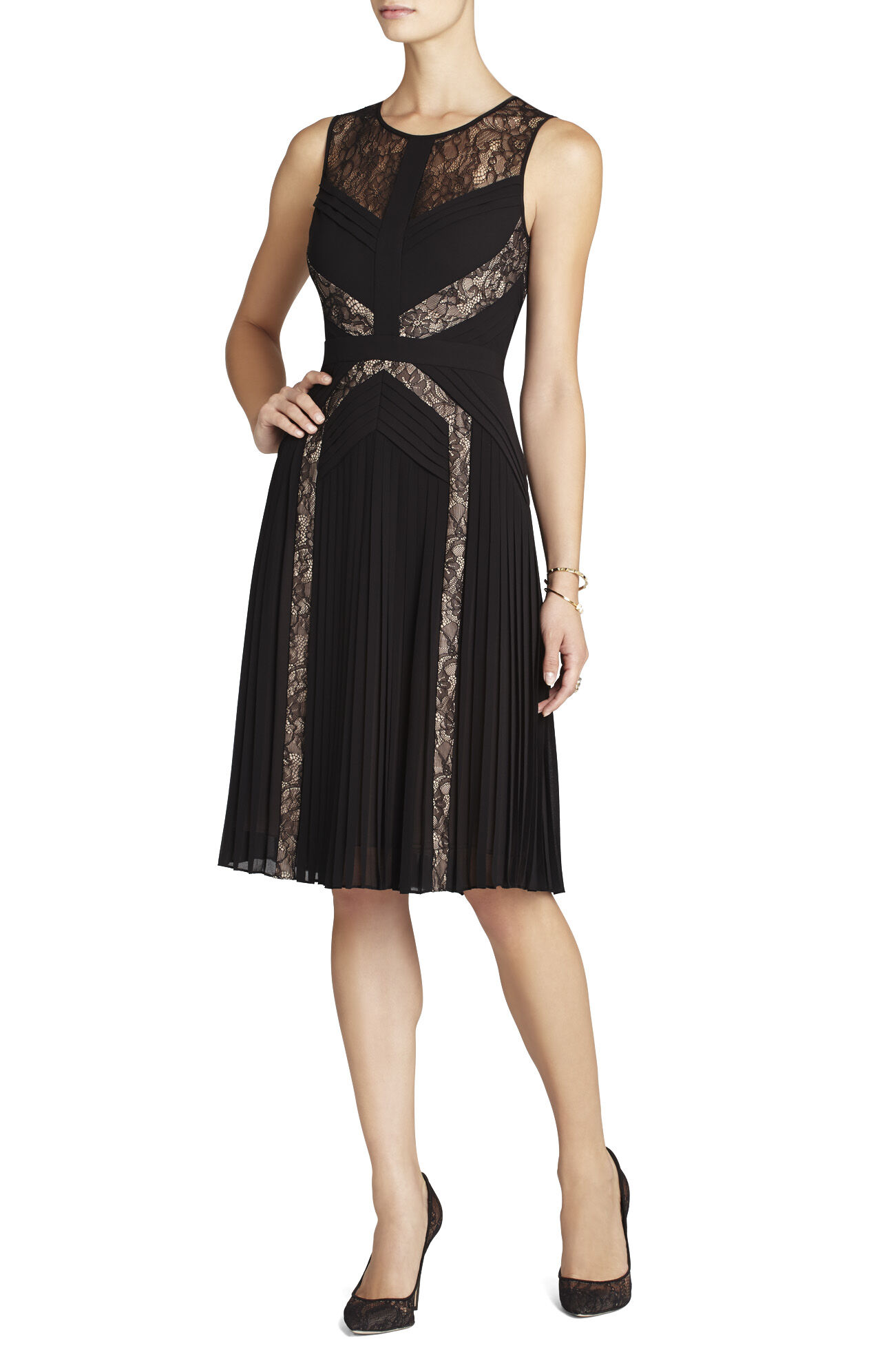 Raya Pleated Lace Cocktail Dress