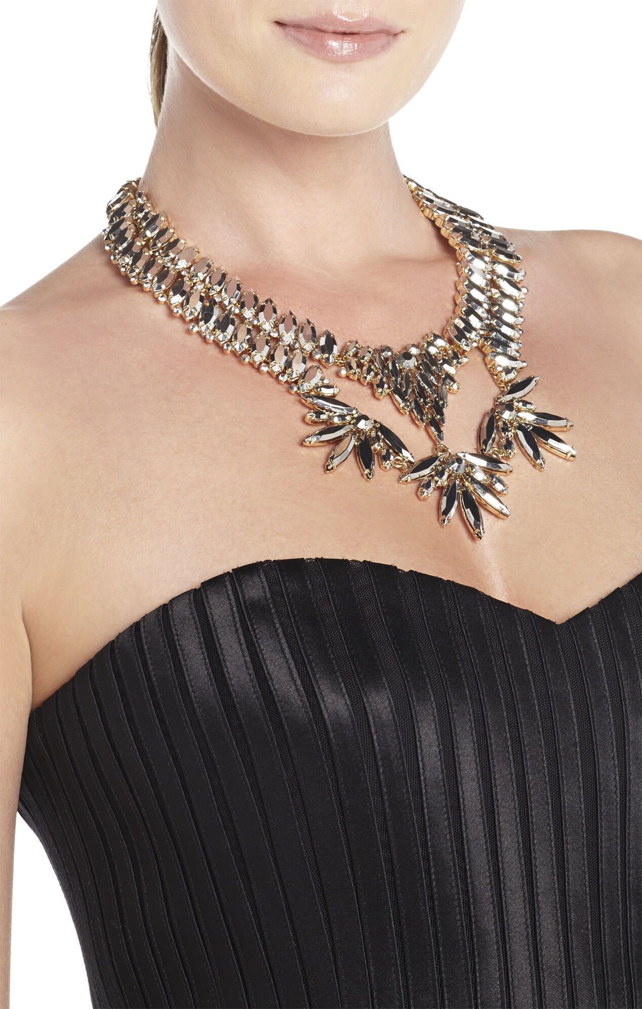 Metallic Stone Statement Necklace