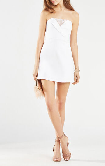 Madelaine Strapless Lace-Trim Dress