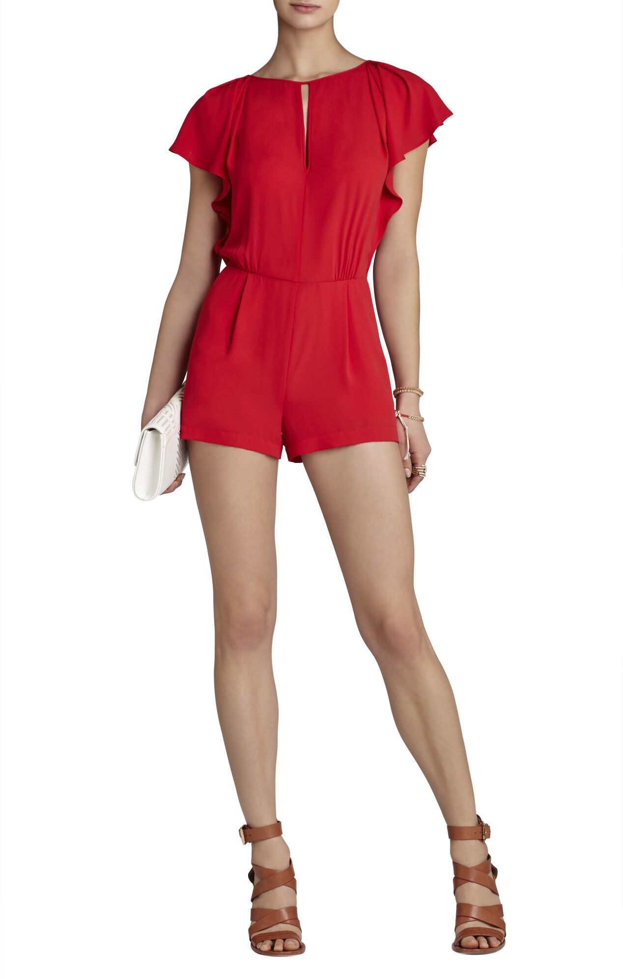 Karmin Draped-Sleeve Romper