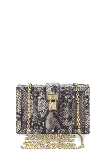 Daphne Python Faux-Leather Luggage Clutch
