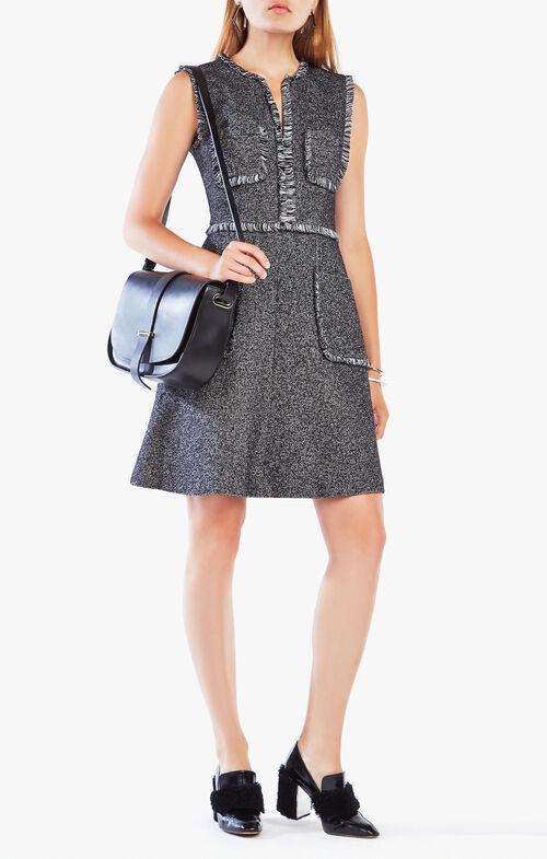 Stellya Fringe-Trim Tweed Dress