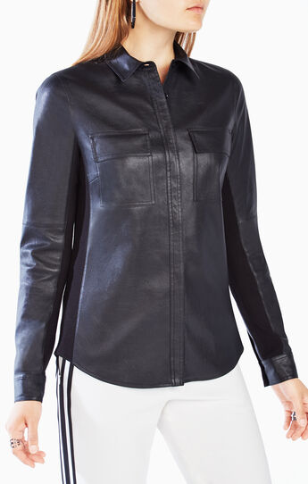 Torey Faux-Leather Button-Up Top