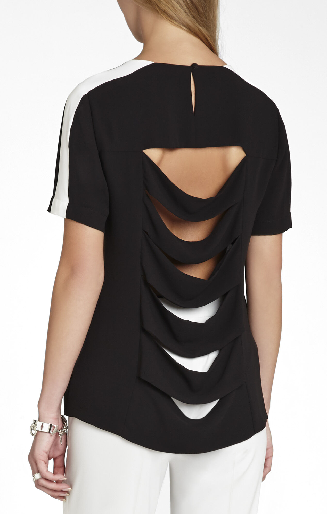 Elloyn Cutout-Back Short-Sleeve Top
