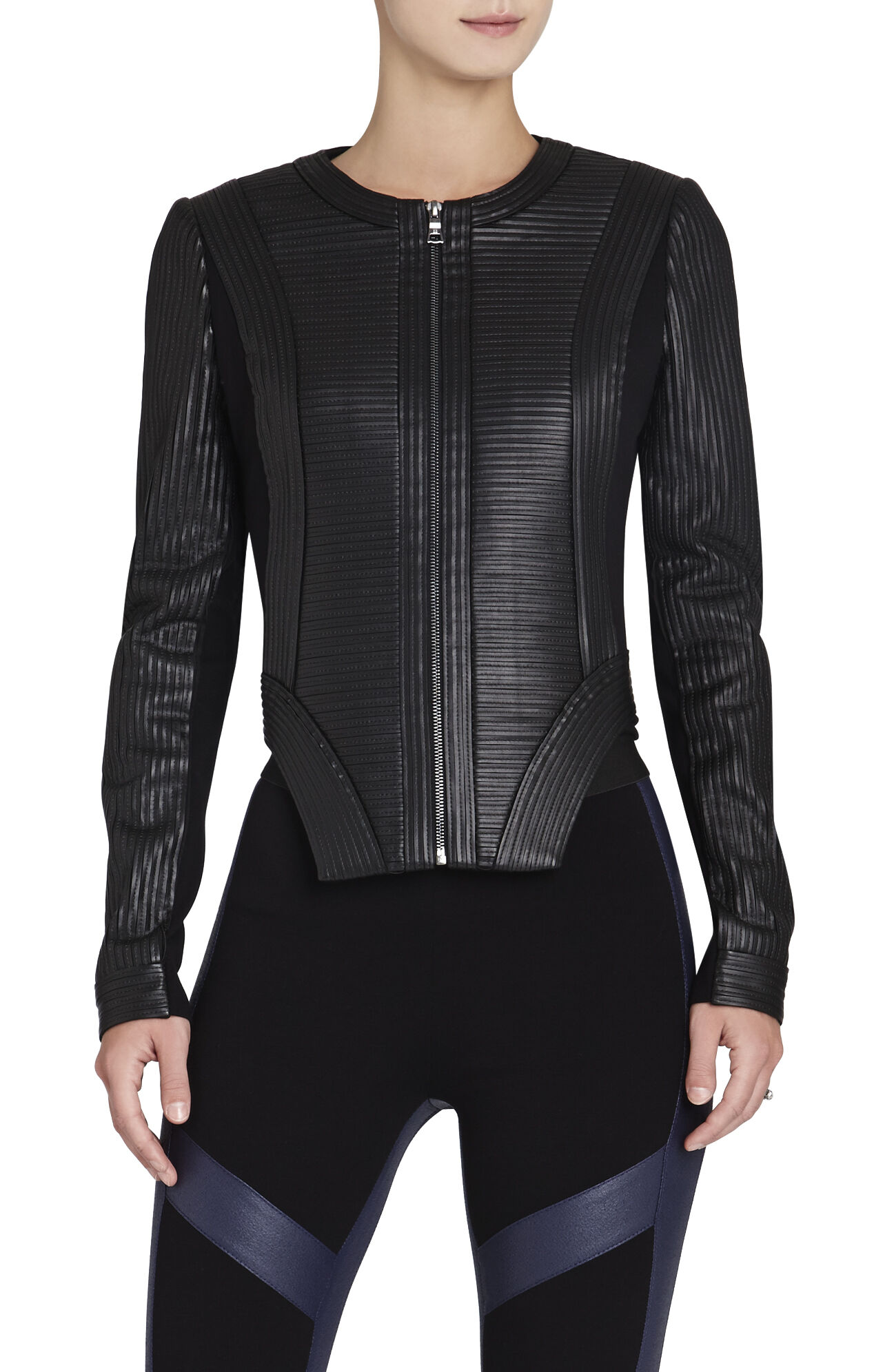 Petar Pleather-Strapped Biker Jacket