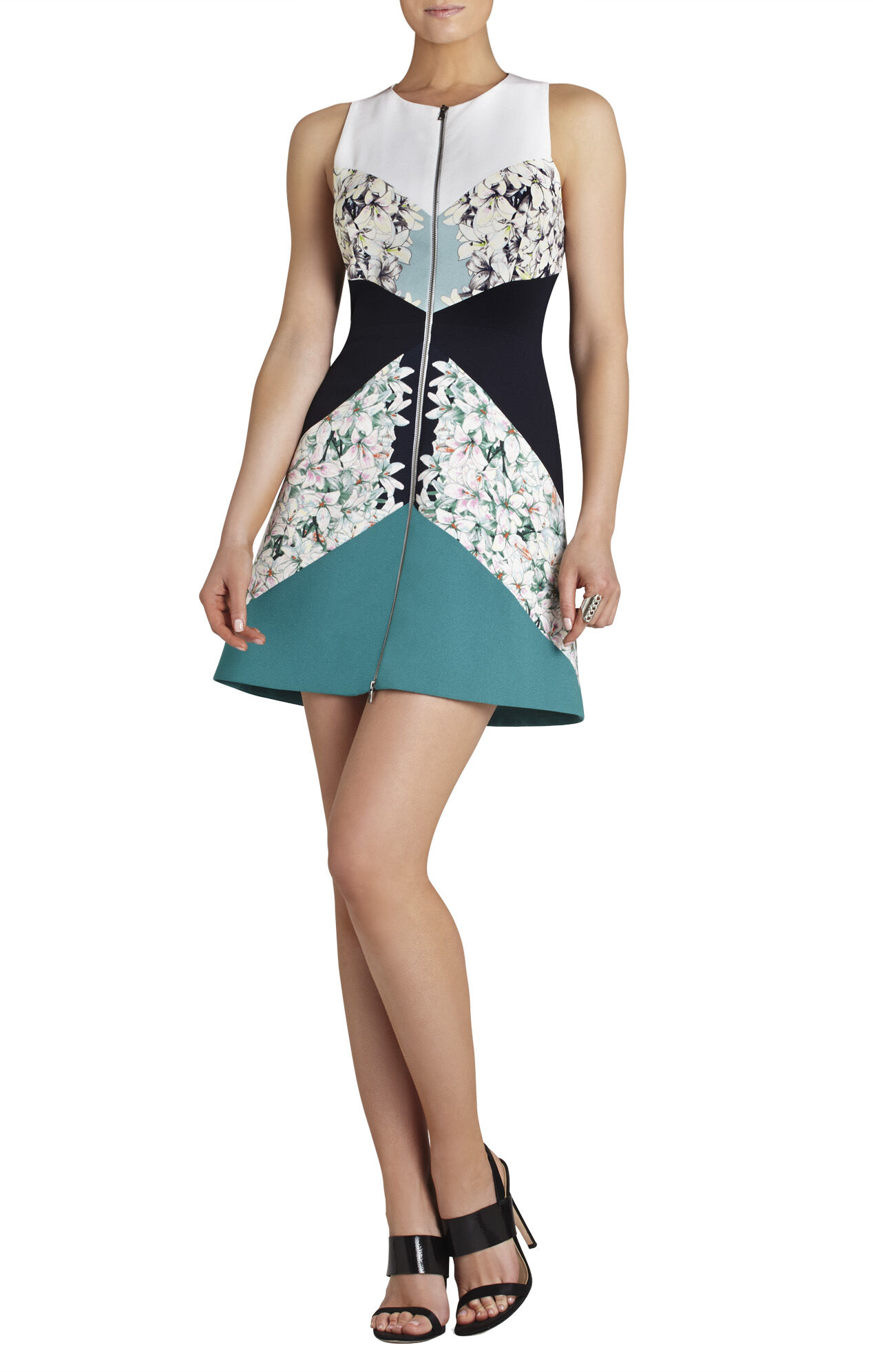 Alaina Print-Blocked Sheath Dress