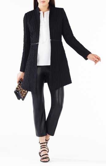 Aurelia Fringe Striped A-Line Coat