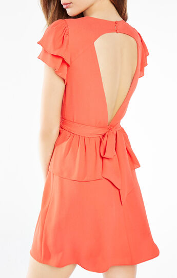 Idell Open-Back Peplum Dress