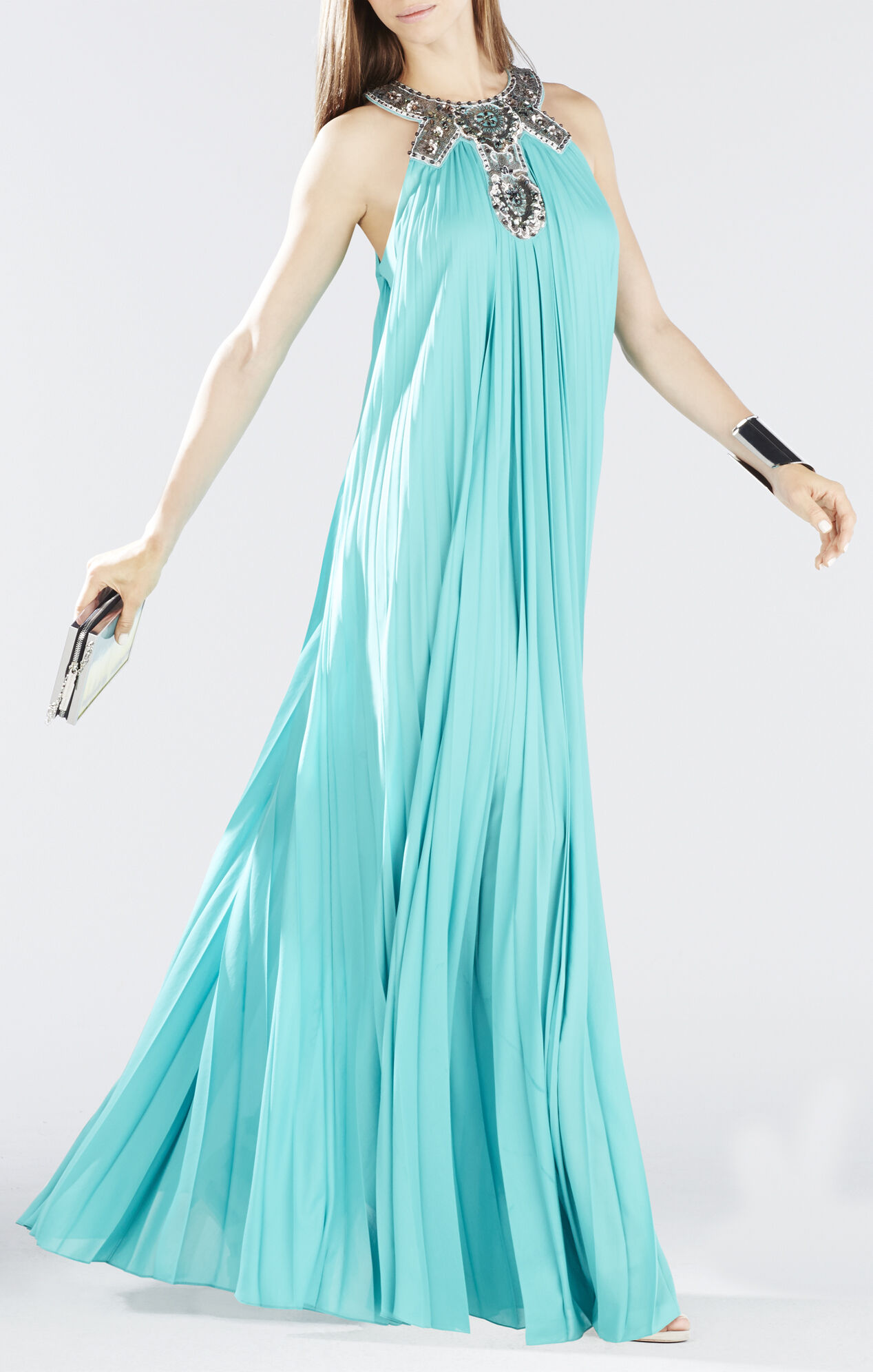 Nailah Beaded Neckline Pleated Gown