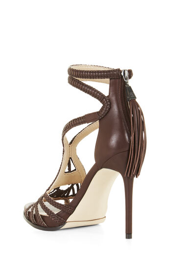 Esh High-Heel Leather Macrame Sandal